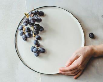 Dinner Plate Pottery Modern Ceramic Plate White Pottery Plate Handmade Dinner Plate & Rustic dinnerware   Etsy