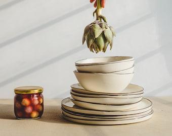 Handmade Pottery Dinnerware Ceramic Dinnerware Dinner Set Ceramic Dinner Plate Soup Bowl Salad Plate Rustic Plates Dish Set New Home Gift