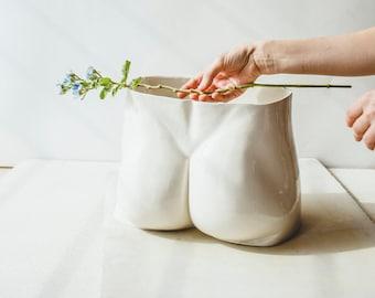 Butt Planter Male Nude Flower Vase Living Room Decor Bathroom Decor Large Planter Ceramic Sculpture Body Art Office Decor Booty Fruit Bowl