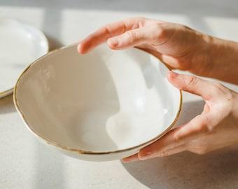 Ceramic serving bowl, porcelain bowl, white bowl, salad bowl, ceramic bowl, pasta bowl, ceramic dish, pottery dinnerware, holidays gift