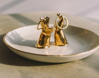 Handmade Bohemian Catch All Ceramic Trinket Dish Vanity Tray Ring Dish Jewelry Holder Office Desk Accessories Living Room Decor Ring Display