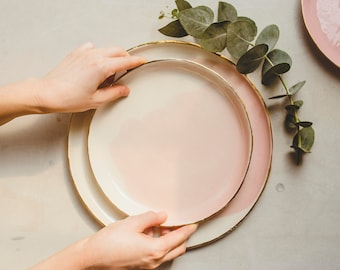 Hand Painted Pottery Plates Dinner Plates Salad Plates Ceramic Dessert Plates Ceramic Dinnerware Decorative Ceramic Plate Dinner Set
