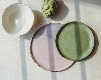 Handmade Ceramics Mismatched Plates Place Setting, Pottery Dinnerware Set, Mix and Match Dish Set, Soup Bowl, Dessert Plate, Dinner Plate