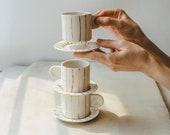 Handmade Porcelain Espresso Cup and Saucer Set Hand Painted Ceramic Coffee Cup Unique Coffee Mug Anniversary Gift Modern Pottery Mug (1 set)