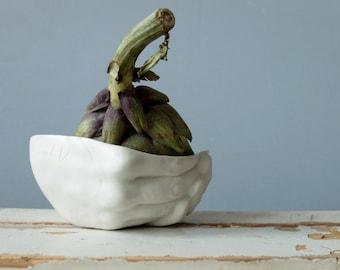 Small serving bowl, ceramic hand, hand bowl, ceramic sculpture, ceramic dish, modern pottery, ceramic vase, ceramic bowl, valentines day