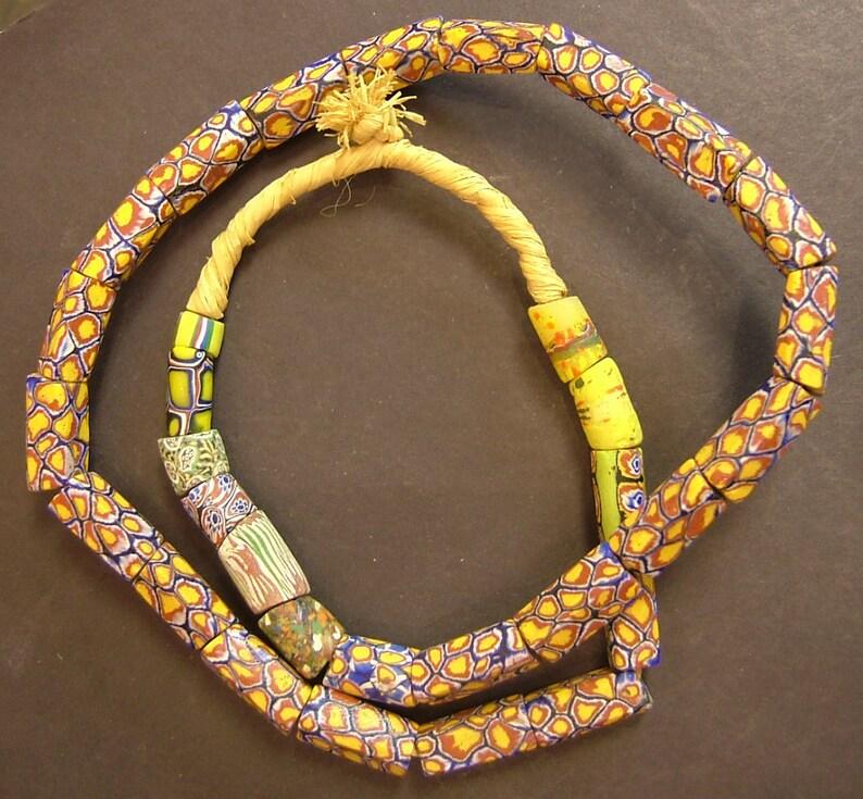 24 inches ATN47 Old rare rectangular Venetian Millefiori African trade beads 10x20 mm