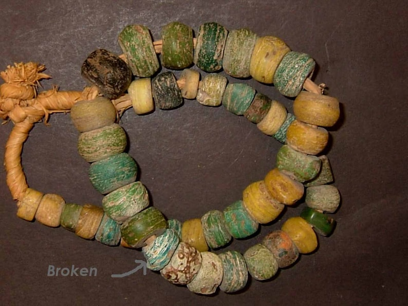 Green and yellow Hebron African trade beads 22 inches one broken ATN115 very interesting graduated strand beads 14 mm to 22 mm