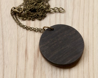Circle Necklace in Black Ebony Wood