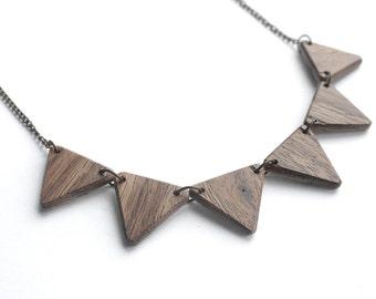 REVERSIBLE - Triangle Wooden Bib Necklace, Walnut and Oak