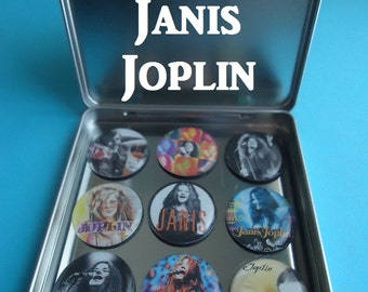 """Janis Joplin Tribute To Janis Joplin (9) 1"""" Frig Magnets Collector Set Awesome Gift 4 Any Janis Joplin Collector Magnetic tin Included Gift"""