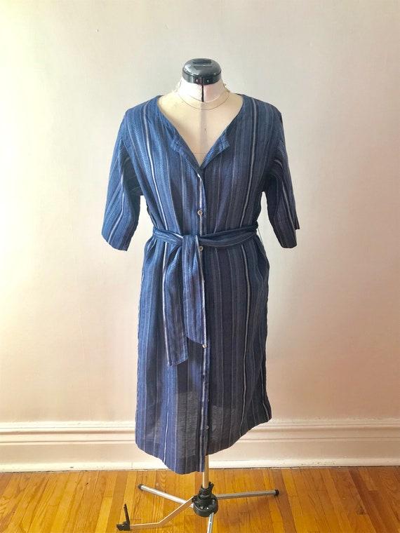 Blue Linen Ports Shirt Dress