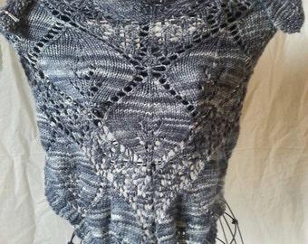 Knitwitch Large Gray Wool Shawl