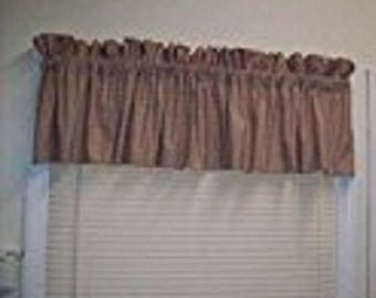 """Beige, Taupe Valance 84"""" Wide x 15"""" Long"""