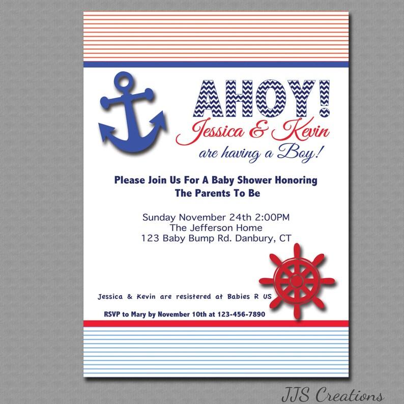 Nautical Ahoy Its a Boy Baby shower Invitation Printable ...