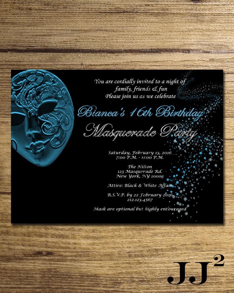 Masquerade Engagement Invitation Masquerade Ball Birthday Etsy