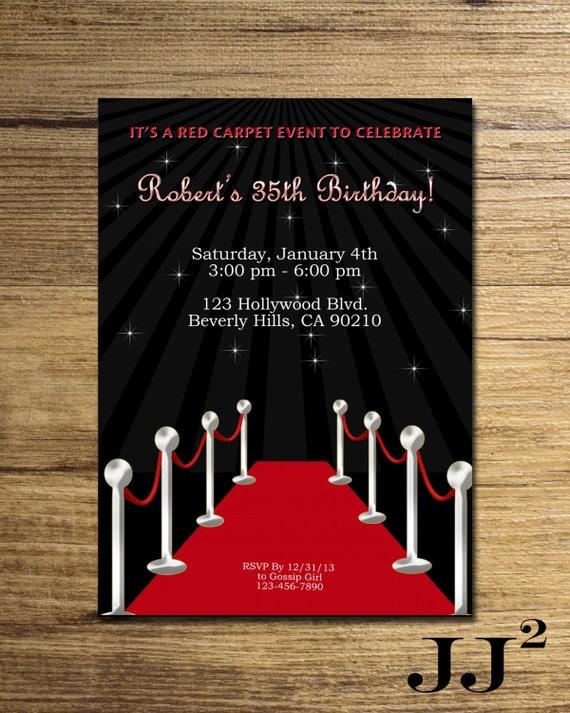 Red carpet birthday party invitation glam hollywood filmwisefo