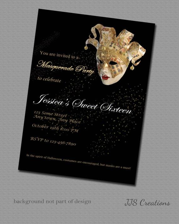 Masquerade Invitation Gold Mardi Grass Sweet 16 Engagement Etsy