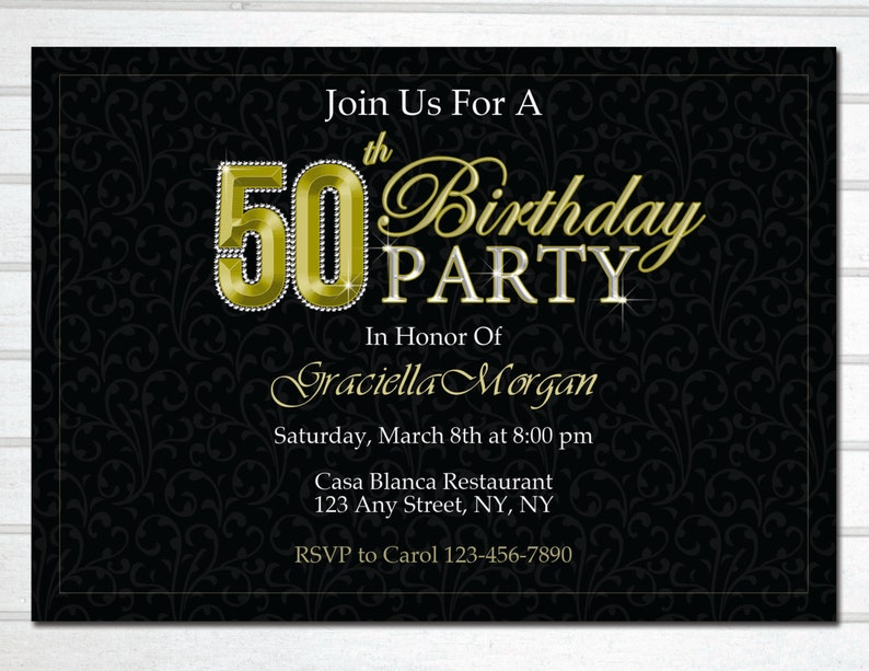 Elegant 50th Invitation Birthday Invite Fifty And
