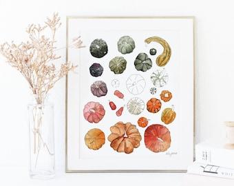 DIGITAL DOWNLOAD - Pumpkins and Gourds Wall Art, Farmhouse Decor, Pumpkin Art Print, Fall Decor, Fall Art Print, Watercolor Painting