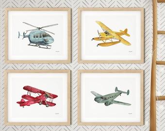Aircraft Prints Boys Bedroom Prints Airplane Nursery Prints Hot Air Balloon Art Helicopter Print Aviation Wall Art Boys Nursery Decor