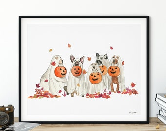 Halloween Ghost Dogs Wall Art, Dog Costume, Fall Home Decor, Fall Art Print, Halloween Art Print, Halloween Home Decor, Happy Howloween