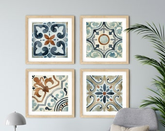 Set of 4 Spanish Tiles, Farmhouse Decor, Rustic Gallery Wall Set, Square Prints, Blue and Cream Pattern Tile, Cement Tile Art, Moroccan Tile