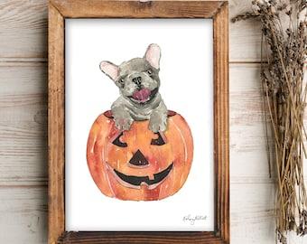 Halloween Pumpkin Dog Wall Art, Pumpkin Art Print, Fall Home Decor, Fall Wall Art, Halloween Art Print, Halloween Home Decor, Carved Pumpkin