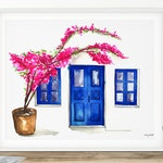 Doors of Oia, Watercolor Painting, Greece Painting, Santorini Painting, Greece Print, Watercolor Santorini, Travel Print, Greece Watercolour