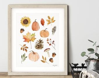 Fall Nature Wall Art, Pumpkins Gourds Art, Watercolor Painting, Sunflowers Art Print, Pinecones, Autumn Art, Pumpkin Wall Decor, Fall Decor