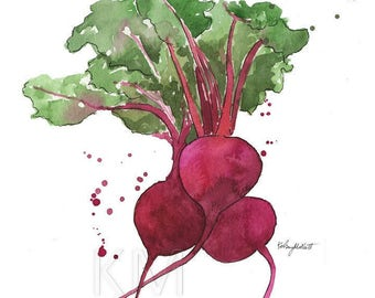 Beets, Vegetable Watercolor Painting, Kitchen, Veggie Home Garden Wall Decor