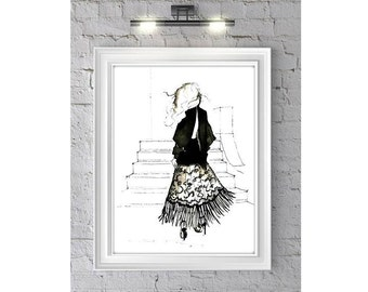 Fringed - Fashion Illustration Watercolor Painting Print- Home decor and wall art, Fashion prints