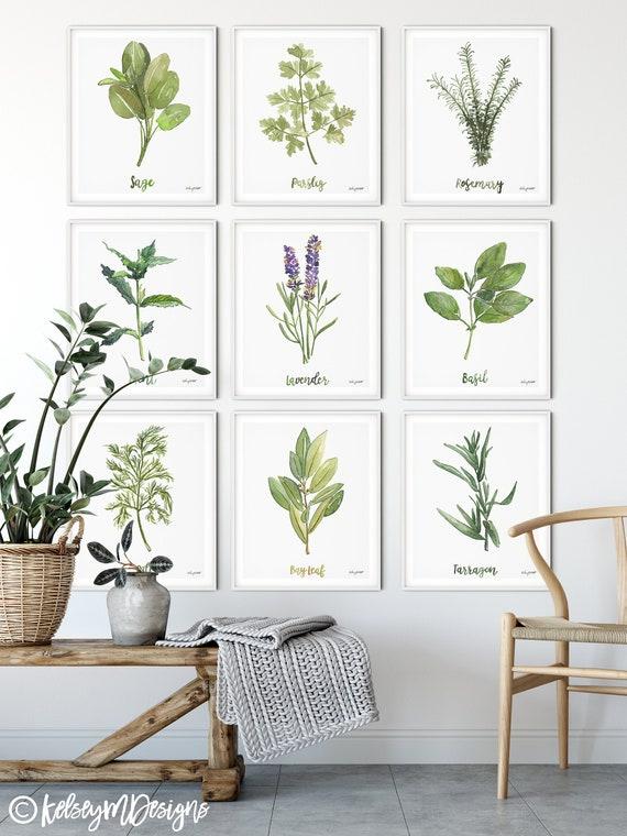 Set di 9, Erbe e Spezie, Stampe da cucina, Herb Kitchen Art, Stampa  Botanica, Plant Gift, Gallery Wall Set, pittura ad acquerello, Sage Mint
