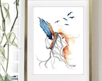 Free Spirit, Print of Original Watercolor Painting - Native American wall art - Office decor and home decor