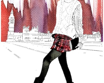 The London Girl - Fashion Illustration Watercolor Painting Print- Home decor and wall art, Fashion prints