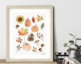 DIGITAL DOWNLOAD - Fall Nature Wall Art, Pumpkin Printable, Colorful Pumpkin Art, Autumn Decor, Watercolor Sunflowers Art Print, Pinecones