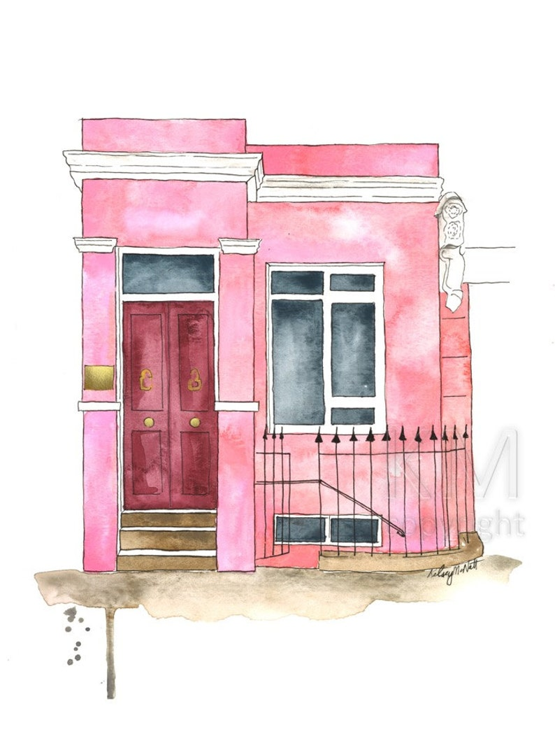 A Notting Hill Home Print from Original Watercolor Painting image 0