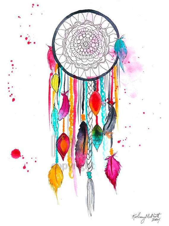 Dream Catcher 40 Watercolor Painting Home Decor Native Etsy New Water Color Dream Catcher