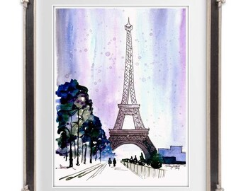 Snow Covered Paris,  Watercolor Painting Print  - Eiffel Tower home decor, paris wall art print