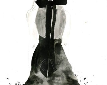 Fashion Illustration Watercolor Painting Print - Back in Black - Home decor and wall art, Fashion prints, Black artwork