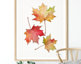 DIGITAL DOWNLOAD - Maple Leaf Wall Art, Fall Printable, Autumn Leaves, Farmhouse Decor, Fall Leaves, Fall Home Decor, Fall Art Print