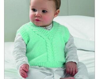 7bd27514fc13d Knitting Pattern Baby Child Cardigan Tank top   waist coat UKHKA DK 122  12-20 inch new