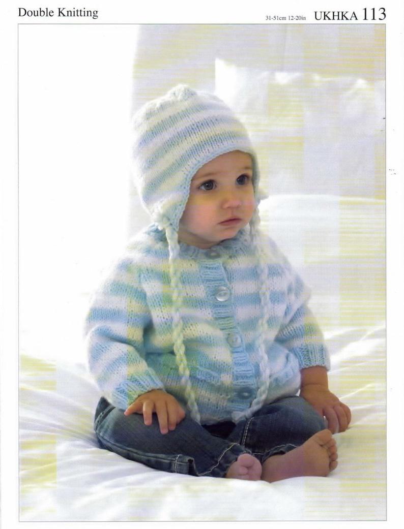 34d925fce5750 Knitting Pattern Baby Child Cardigan hat scarf UKHKA DK 113