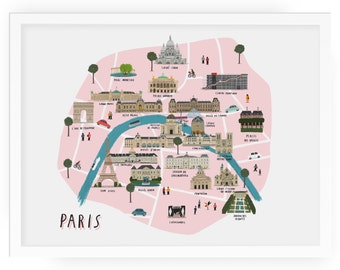 Paris map print | Etsy