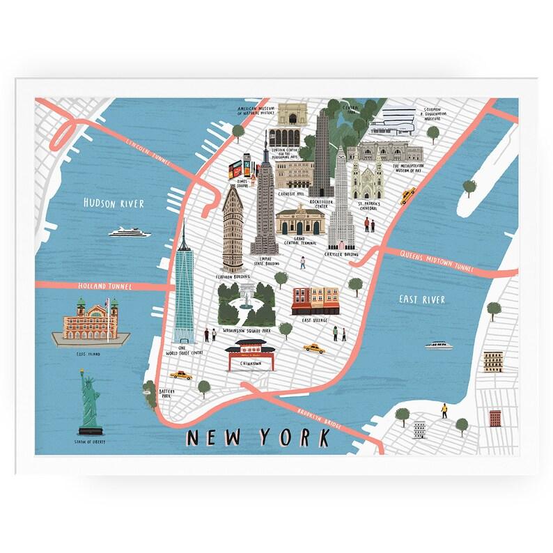 Map Of New York With Landmarks.New York Map Illustrated Art Print Map Illustration City New York Art New York Print New York Map Art City Map New York Wall Art