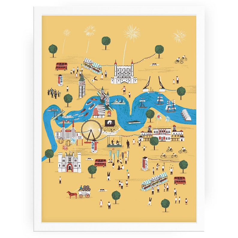 Totally Thames print illustrated map London city art Thames   Etsy on