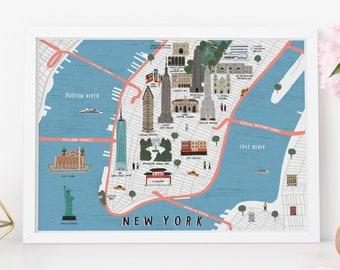 New York map illustrated art print - map illustration city new york art new york print new york map art city map new york wall art