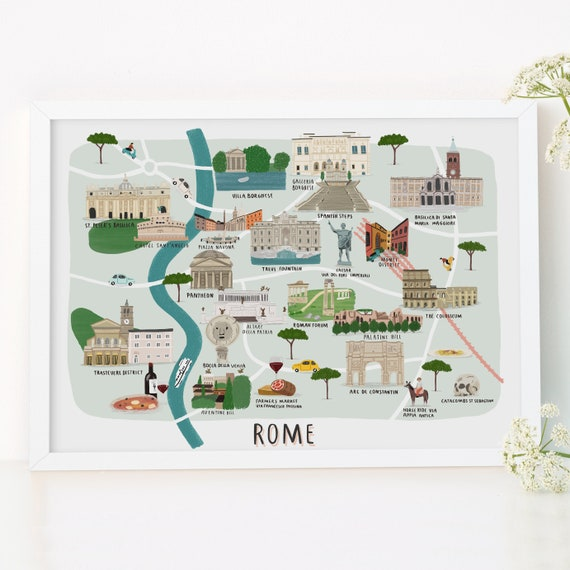 Rome Carte Illustree Imprimer Carte D Impression Etsy