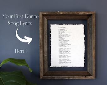 song lyrics print anniversary gift for parents 6th wedding anniversary gift for him song lyrics wall art Cotton anniversary gift for him