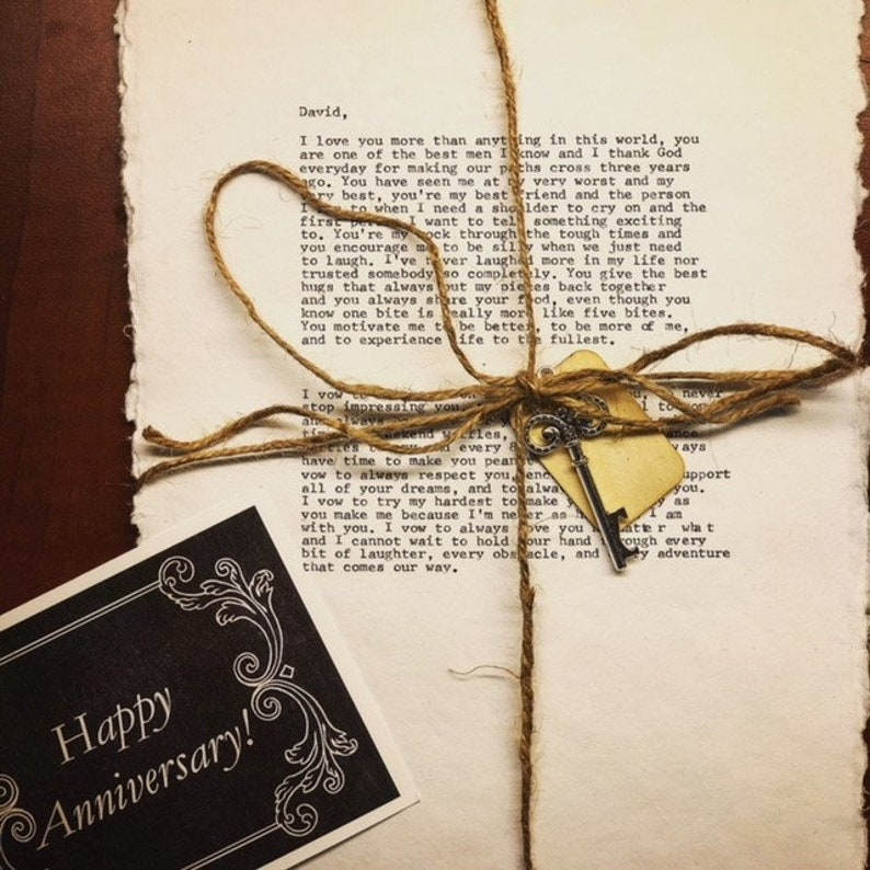 Cotton or Paper Anniversary Gift for Her or Him I First Dance Typed I  Wedding Vow Print I Second Anniversary I 2nd Anniversary l Typewriter