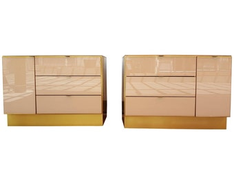 Pair Of Glass And Brass Dressers By Ello Furniture 1970u0027s